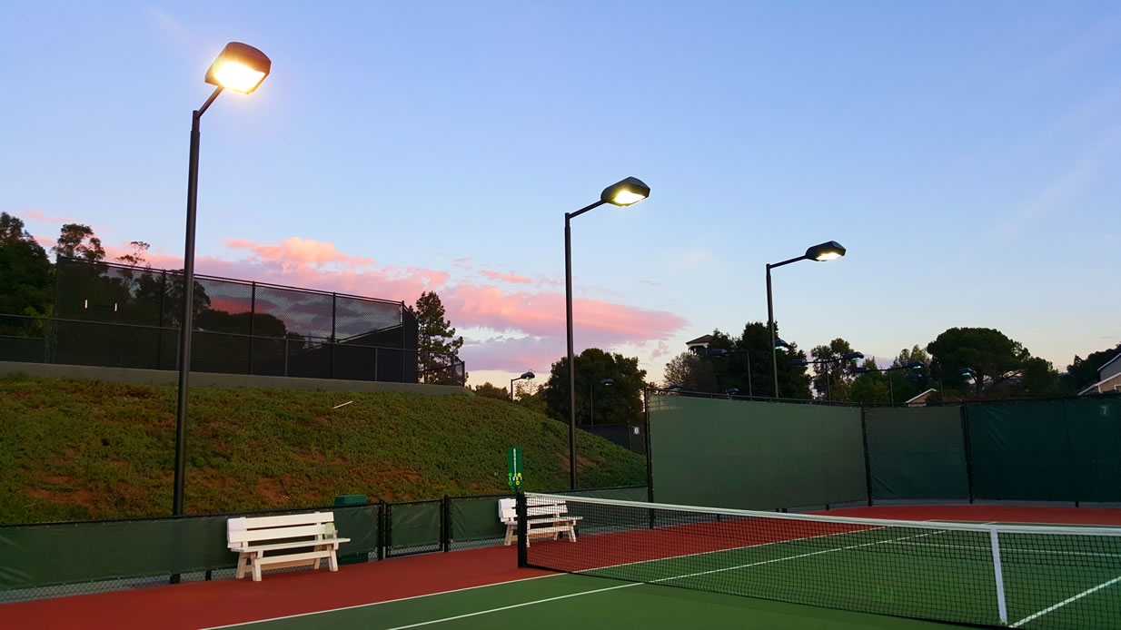 New Tennis Court Lighting, Fencing, Plexipave Overlay Courts, Windscreens